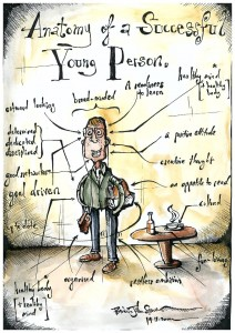 Inspired by the inimitable Ronald Searle this is my anatomy of a successful young person. This was done for Ambitious Minds, a youth unemployment agency that helps young people find suitable work.