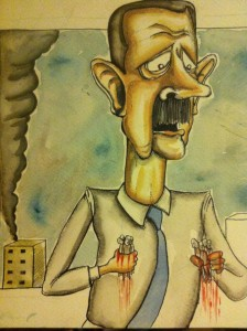 An illustrated rendering of Syria's bloody despot.