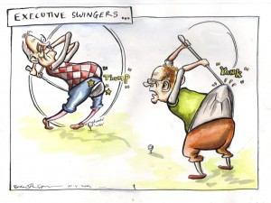 A cartoon I did for Chambre Public Affairs. It follows announement that Irish Open would be held in Northern Ireland.