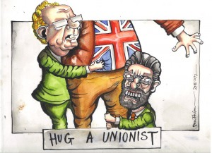 In the summer of 2012 Gerry Adams & Sinn Fein spoke about how unionists should feel safe and secure in a united Ireland. I think SF are trying to love unionists into all-Ireland unity now. How times change!