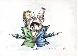 This is a piece I did for an exhibition in the summer of 2012. It shows the joint Stormont beast that is SF-DUP.